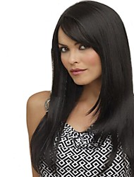 color de la mezcla sin tapa longitud larga de alta calidad peluca sintética pelo liso natural con golpe lateral