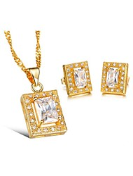 18K Gold Plated Inlaid Cubic Zirconia Pendant Necklace And Stud Earrings Jewelry Set (1 set, Green / White)