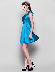 Short/Mini Taffeta Bridesmaid Dress - Ink Blue A-line One Shoulder