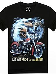 Männer Oansatz Sommer Motorrad und Adler 3d gedruckt Kurzarm-T-Shirt