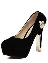 sapatas das mulheres rodada toe de camurça bombas salto robusto e econômicos com bowknot sapatos de strass mais cores disponíveis