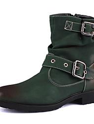 Sapatos Masculinos Botas Verde Couro Casual