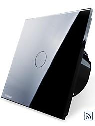 EU Standard,Livolo Black Pearl Crystal Glass Panel,Wireless Remote Home Light, 1Gang 2 Way Switch,110-250VAC