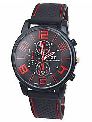 Hombre Reloj de Pulsera Cuarzo Silicona Banda Negro Blanco Rojo Verde Azul