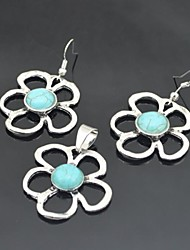 Toonykelly Vintage Antique Silver Flower Turquoise(Earring and Necklace) Jewelry Set