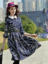 Стабильный Нотч нагрудные абстрактный узор дизайн колен mishow®women в 5 минут рукав вскользь уменьшают старинные платья