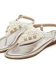 Zapatos de mujer - Tacón Bajo - Punta Abierta - Sandalias - Vestido / Casual - Sintético - Plata / Oro