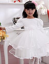 Ball Gown Tea-length Flower Girl Dress - Cotton Long Sleeve