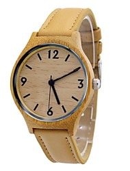 Women's Watch Bamboo Wooden Dress Wrist Watch Beige Leather Strap