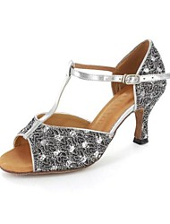 Latin Customized Women's Sandals Sparkling Glitter Buckie Dance Shoes