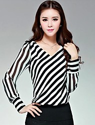 Women's Casual/Daily Simple Spring / Fall Blouse,Striped V Neck Long Sleeve Black Thin