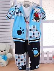 Spring Autumn Boy Three-piece Suits Lovely Bear Infant Long-sleeved Plaid Hooded Coat T-shirt Pants