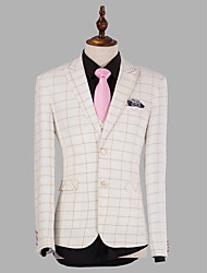 White Tattersall Slim Fit Suit In Polyester Three-Piece