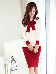 Women's Work Bodycon Dress,Patchwork Bow Knee-length Long Sleeve Red / White / Gray Spring / Fall / Winter