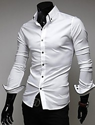 Men's Solid Work Shirt,Cotton / Polyester Long Sleeve Black / White