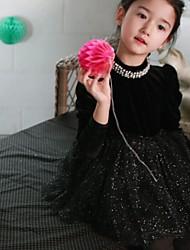 moda doce gola alta pérola vestido de manga longa da menina