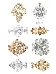 1Pcs  Metal  Rose Gold And Silver  Series Fancy  Pattern  Tattoo Sticker