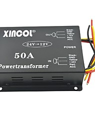 Xincol® Vehicle Car DC 24V to 12V 50A Power Supply Transformer Converter with Dual Fan Regulation-Black