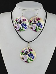 Toonykelly Fashionable Flower Butterfly Natural Shell Cowry(Earring and Necklace) Jewelry Set