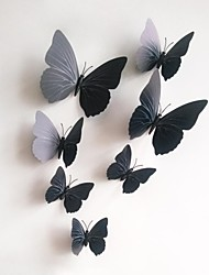 Wall Stickers Wall Decals, 12Pcs/Lot 3D PVC Magnetic black Butterfly Sticker Home Stickers DIY Wall Stickers.