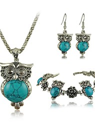 Tibetan Vintage Silver Retro Turquoise Stone Pendant Necklace drop earrings bracelet Set(More Colors)