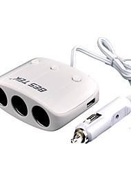 3 Socket Adapter Each Cigar Socket With On/ Off Switch, Dual Core and Dual USB Car Charger For Phone, MP3/4, Camera