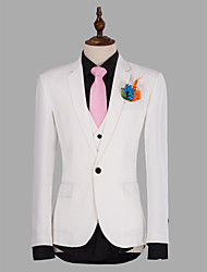 White Solid Slim Fit Suit In Polyester Three-Piece
