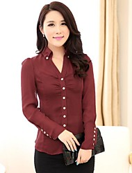 Women's Blue/Red/White/Black Shirt , Casual Shirt Collar Long Sleeve