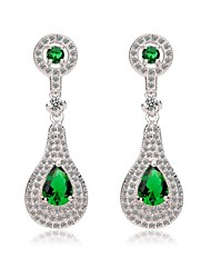 Fashion White Gold Plated Women Long CZ Drop Earrings Green And Blue Perfect Cut Cubic Zircon Earrings(More Colors)