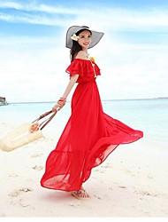 Mujer yuntuo® es la nueva alta cintura de emulación de seda fina gasa vestido de una palabra trajo el vestido bohemio de la playa