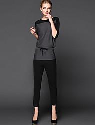 moitié manches costume de coton décontractés pour femmes (chemisier&pantalon)