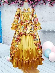 manga larga hasta los pies vestido lolita oro aristócrata floral algodón