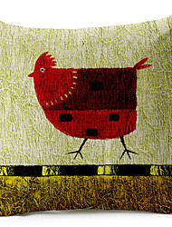 Red Rooster Cotton/Linen Printed Decorative Pillow Cover