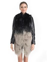 Fur Coat Leather Sleeve Collarless Natural Raccoon Fur Casual Coat
