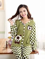 à double coton peigné manches longues ouvertes trop confortables costumes de vêtements de loisirs des femmes