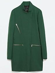 Women's Zipper Green Tailored Collar Outerwear