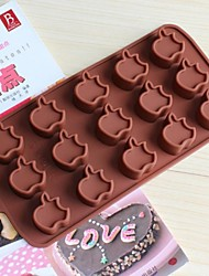 15 Hole Apple Shape Cake Ice Jelly Chocolate Molds,Silicone 15×14.5×1.5 CM(6.0×5.8×0.6 INCH)