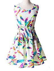 Women's Hot Sale Beatiful Multicolor Feather Waisted  Dress