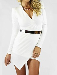 Women's Sheath Dress,Solid Deep V / Surplice Neck Asymmetrical Long Sleeve White / Black Fall / Winter