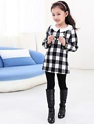 moda grade lapela doce vestido de manga longa da menina