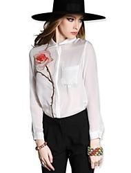 rosa moda feminina camisa de seda de impressão