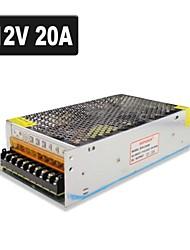 SPD-240W 12v20a CCTV acessórios do sistema de câmera transformador da fonte de alimentação de metal - prata (AC 110-220V)