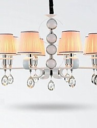 Fabric Chandelier 8 Light  High-Grade  Lamp White Jade Silver Ring