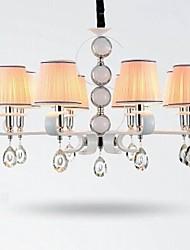 tecido lustre 8 lâmpada de alto grau de luz anel de prata jade branco