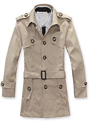 Men's Long Sleeve Long Trench coat , Cotton/Tweed Pure