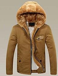 Men's Regular Parka Coat , Cotton/Cotton Blend Pure Long Sleeve