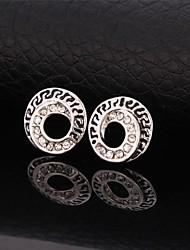 U7® Stud Earrings Platinum Plated Sparkle Rhinstone Circle Earrings for Women Fashion Jewelry