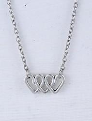 Unisex's Fashion Heart Pendant Alloy Pendant Necklace(Silver,Golden)(1 Pc)