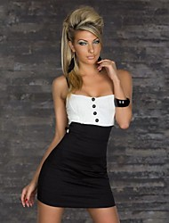 Women's Sexy Spaghetti Straps Office Clubwear Button Tunic Mini Dress
