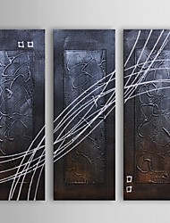 Oil Painting Modern Abstract Strings Across Set of 3 Hand Painted Canvas with Stretched Frame